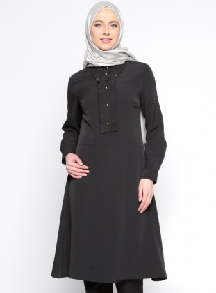 Düğme Detaylı Tunik - Siyah