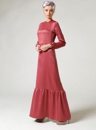 Fırfırlı Elbise - Bordo