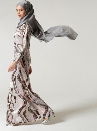 Fırfırlı Elbise - Gri Pembe