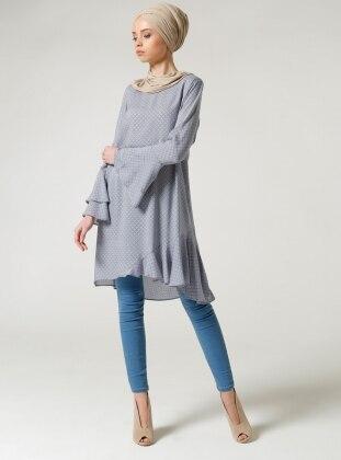 Fırfırlı Tunik - Mavi