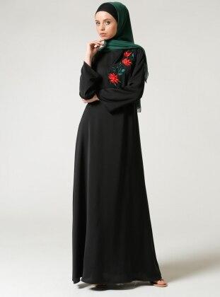 Nakışlı Elbise - Siyah
