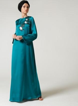 Nakışlı Elbise - Yeşil