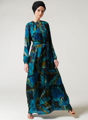 Önü Büzgülü Elbise - Petrol Milda Store