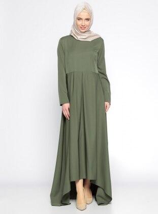Pile Detaylı Elbise - Haki