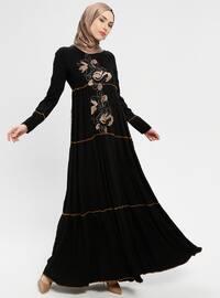 Black - Gold - Crew neck - Unlined - Dress - BAGİZA