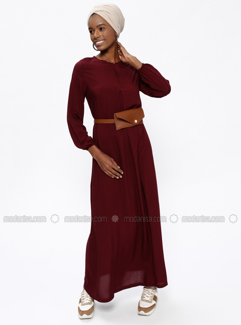 Bordeauxrot Rundhalsausschnitt Ohne Innenfutter Hijab Kleid