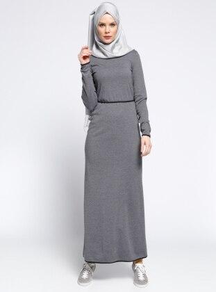 Biye Detaylı Elbise - Füme