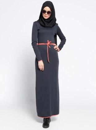 Biye Detaylı Elbise - Füme Mercan
