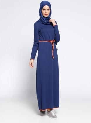 Meryem Acar Biye Detaylı Elbise - Lacivert Turuncu