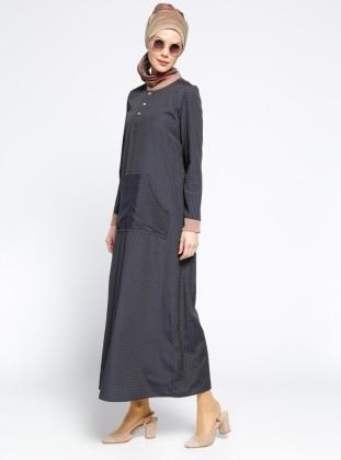 Düğme Detaylı Elbise - Lacivert