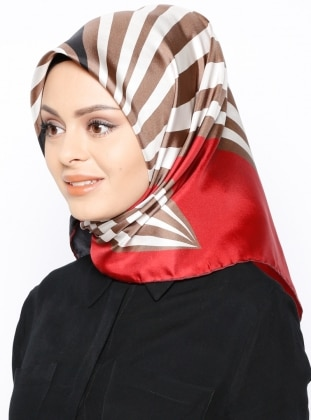 Red - Multi - Printed - Twill - %100 Silk - Scarf