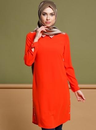Orange - Stripe - Point Collar - Tunic - Puane 270929
