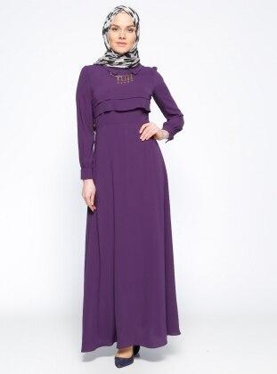 Kolyeli Elbise - Mürdüm