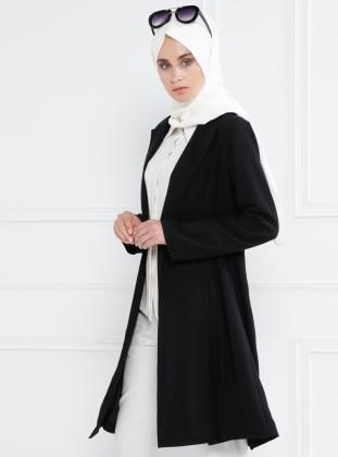 A Pile Detaylı Uzun Ceket - Siyah Refka