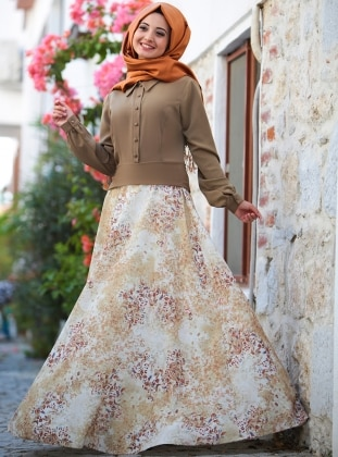 Puqqa Eftelya Elbise - Haki