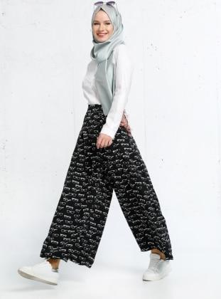 Gözlük Desenli Pantolon Etek - Siyah Refka