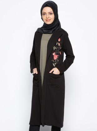 Nakış Detaylı Ceket - Siyah