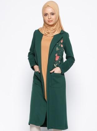 Nakış Detaylı Ceket - Yeşil Moonlight