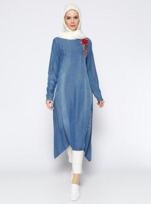 Nakış Detaylı Tensel Tunik - Mavi