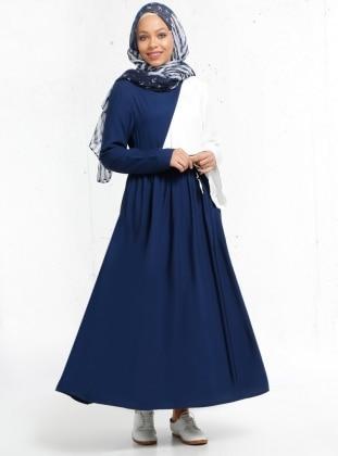 Doğal Kumaşlı Garnili Elbise - Lacivert
