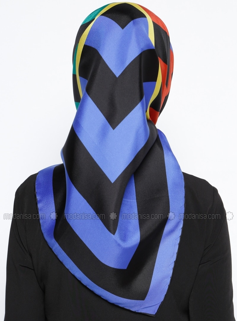Blue - Black - Pink - Orange - Printed - Twill - %100 Silk - Scarf ...