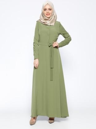 Biye Detaylı Elbise - Haki