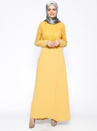 Dantelli Abiye Elbise - Sarı