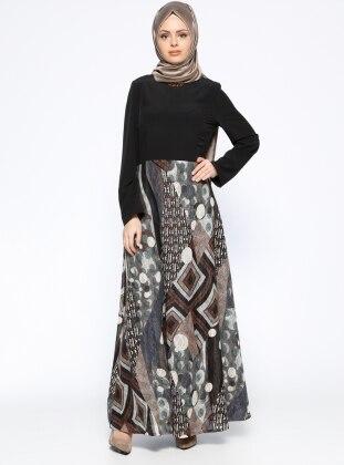 Nihan Desenli Elbise - Siyah Gri
