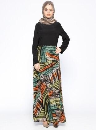 Nihan Desenli Elbise - Siyah Turuncu