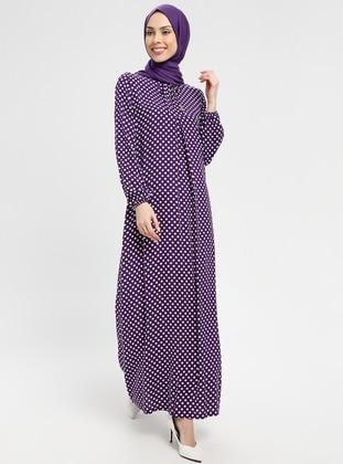 Purple - Polka Dot - Crew neck - Unlined - Dress - BAGİZA