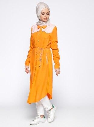 Orange - Stripe - Point Collar - Tunic - Nihan 271719