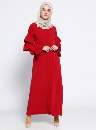 Beha Gizli Fermuarlı Ferace - Kırmızı