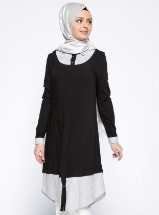 Nihan Gömlek Yakalı Tunik - Siyah