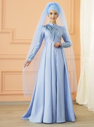 Kavin Abiye Elbise - Buz Mavi