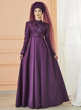 Mevra Kavin Abiye Elbise - Mürdüm