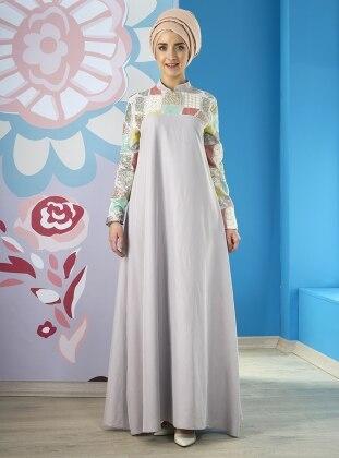 Mevra Marin Tensel Elbise - Gri