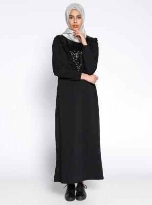 Payetli Elbise - Siyah