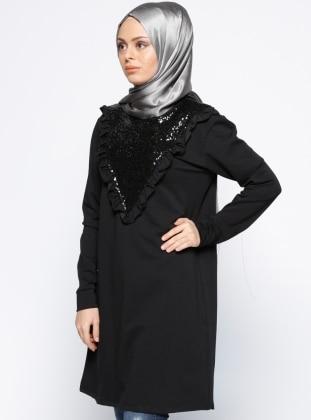 Payetli Tunik - Siyah