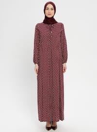 Maroon - Polka Dot - Crew neck - Unlined - Dress - BAGİZA