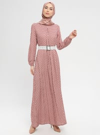 Powder - Polka Dot - Crew neck - Unlined - Dress - BAGİZA