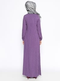 Purple - Polka Dot - Crew neck - Unlined - Dress