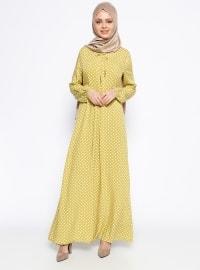 Puantiyeli Elbise - Yağ Yeşili - Ginezza