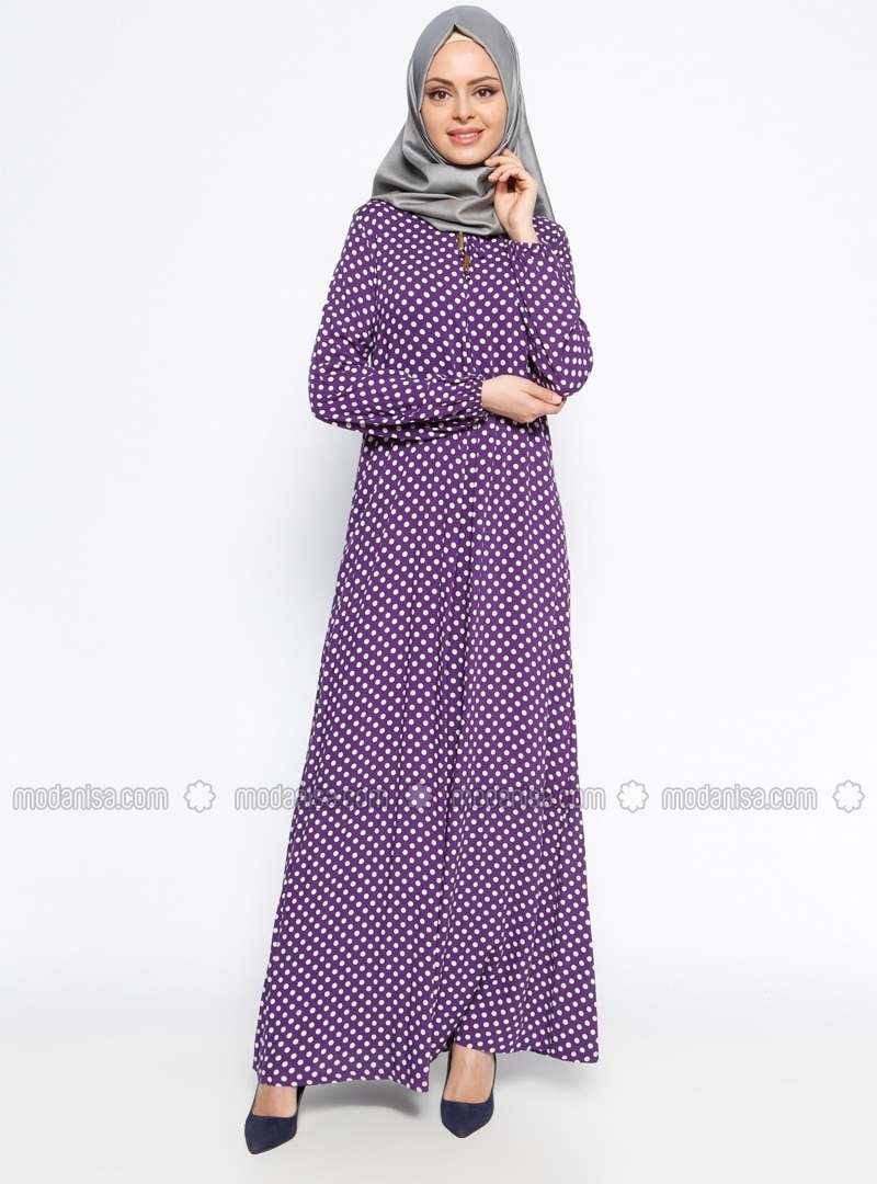 Purple - Polka Dot - Crew neck - Unlined - Dress