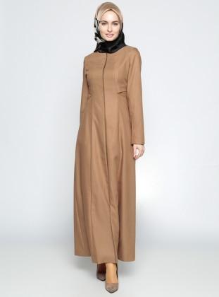 Fermuarlı Pardesü - Taba