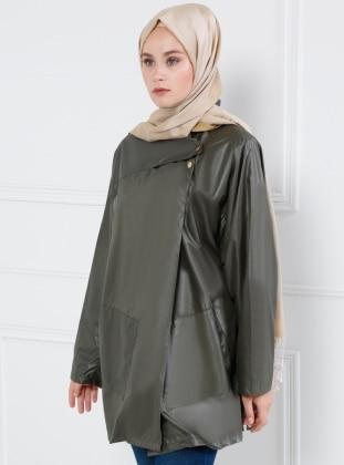 Khaki - Unlined - Polo neck - Puffer jacket - Refka
