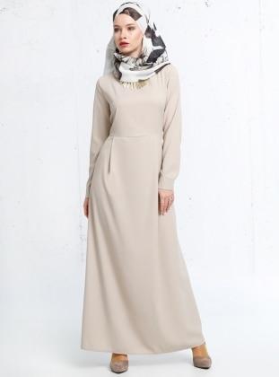 Refka Kolyeli Elbise - Bej