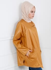 Camel - Unlined - Polo neck - Puffer jacket - Refka