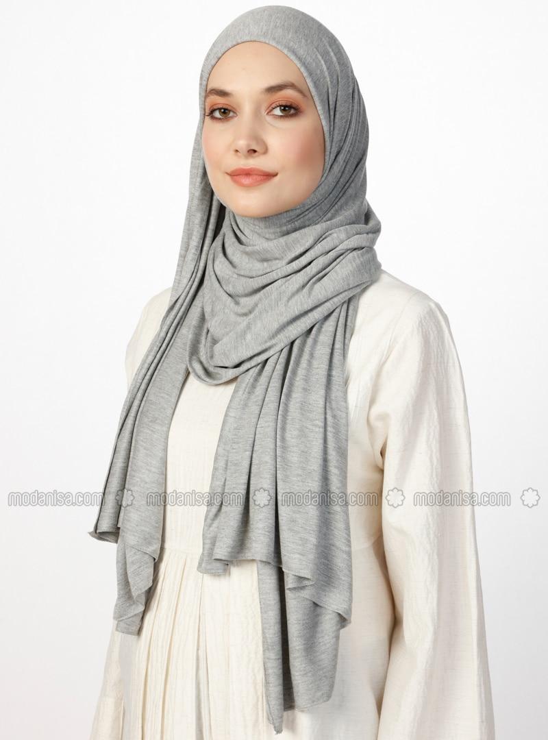 Gray - Plain - Combed Cotton - Shawl