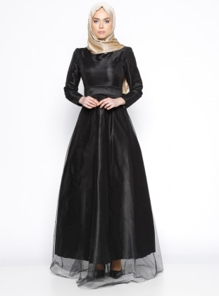 İncili Abiye Elbise - Siyah