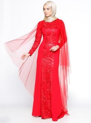 Payetli Abiye Elbise - Kırmızı